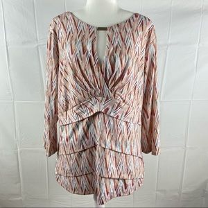 Pink Abstract Mid Sleeve Blouse Top Size XL